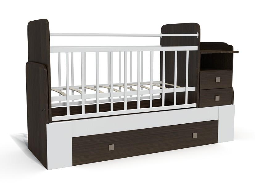 Кровать-трансформер Bambu Milana венге+белый