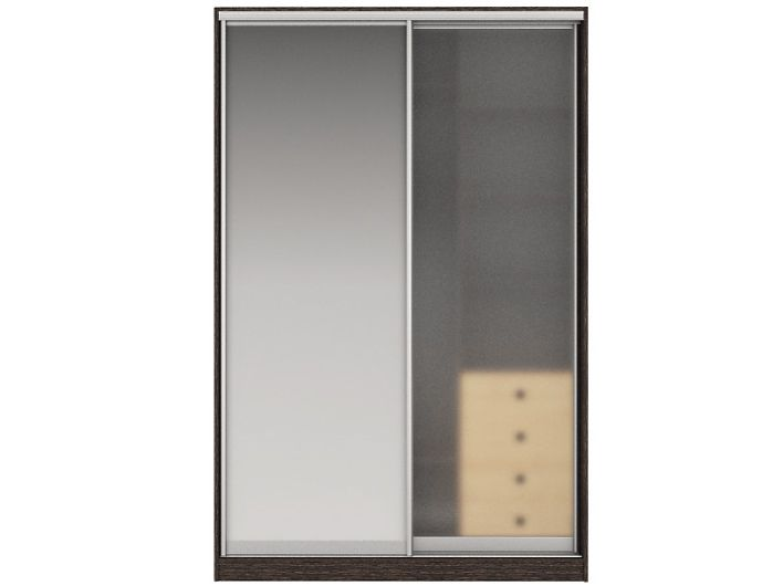 Шкаф-купе ЖАКЛИН Вариант 4 Фасады: Зеркало, Стекло матовое (венге/дуб млечный)