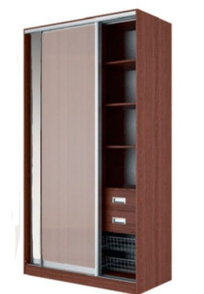 Шкаф-купе ЖАКЛИН Вариант 4 Фасады: Зеркало, Стекло матовое (орех)
