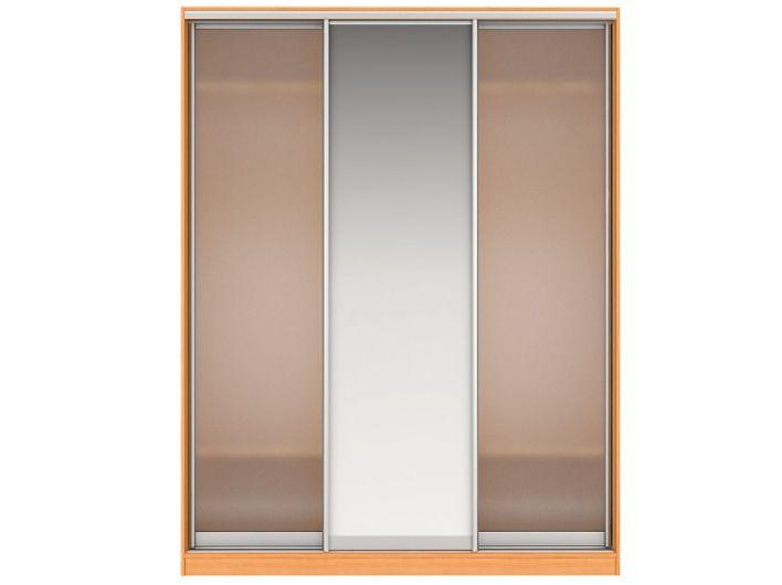 Шкаф-купе НАОМИ Вариант 2 Фасады: Стекло матовое, Зеркало,Стекло матовое (вишня)