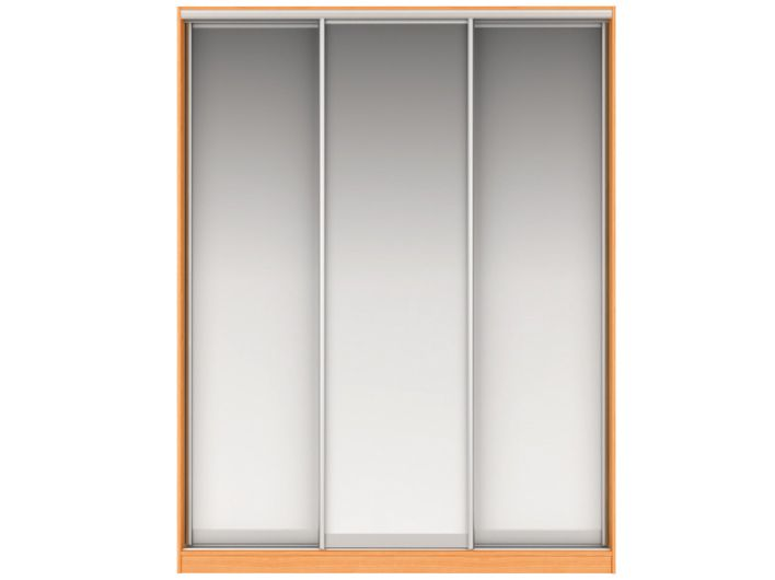 Шкаф-купе НАОМИ Вариант 3 Фасады: Зеркало, Зеркало, Зеркало (вишня)