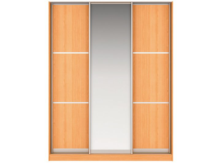 Шкаф-купе НАОМИ Вариант 4 Фасады: Тройной ЛДСП, Зеркало, Тройной ЛДСП (вишня)