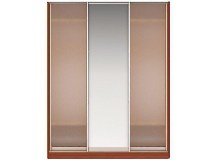 Шкаф-купе НАОМИ Вариант 2 Фасады: Стекло матовое, Зеркало, Стекло матовое (орех)