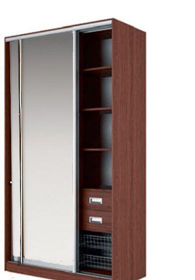 Шкаф-купе ЭЛВИС Вариант 2 Фасады: Зеркало, Зеркало (орех)