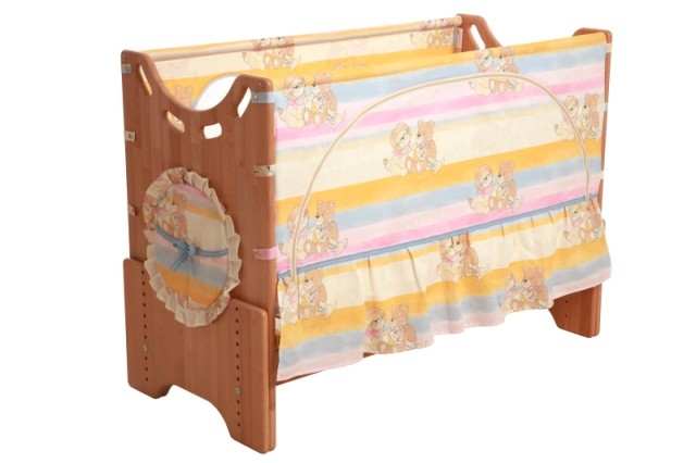 """Детская приставная кроватка для новорожденных с регулировкой высоты """"Добрые друзья"""" сосна"""