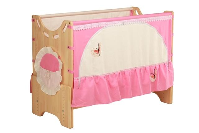 """Детская приставная кроватка для новорожденных с регулировкой высоты """"Бабочка"""" сосна"""