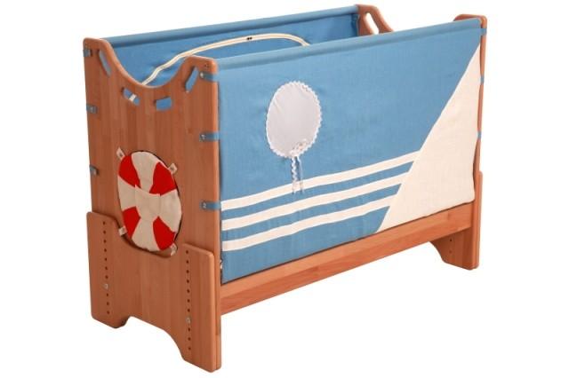 """Детская приставная кроватка для новорожденных с регулировкой высоты """"Кораблик"""" сосна"""
