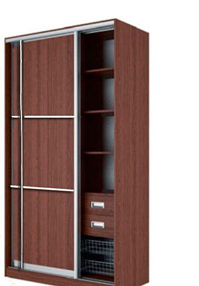 Шкаф-купе ЭЛВИС Вариант 7 Фасады: Тройной ЛДСП, Тройной ЛДСП (орех)