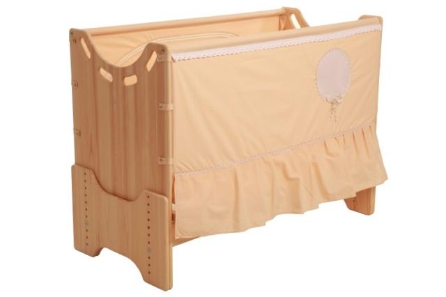 """Детская приставная кроватка для новорожденных с регулировкой высоты """"Нежность"""" сосна"""