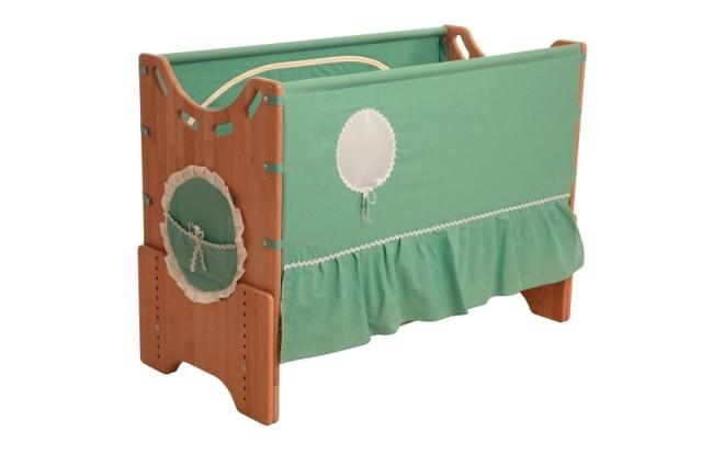"""Детская приставная кроватка для новорожденных с регулировкой высоты """"Эльфийский сказ"""" сосна"""