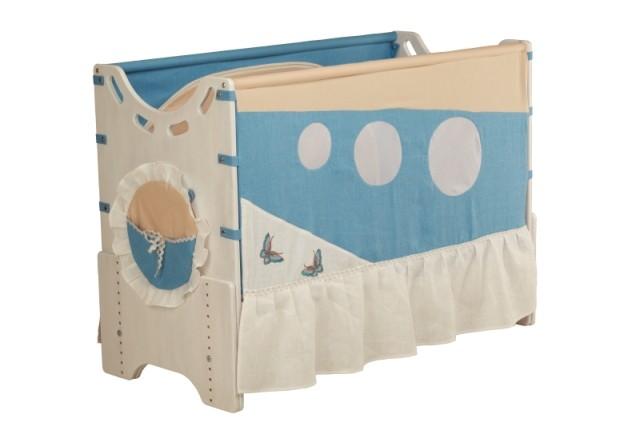 """Детская приставная кроватка для новорожденных с регулировкой высоты """"Морской бриз"""" сосна"""