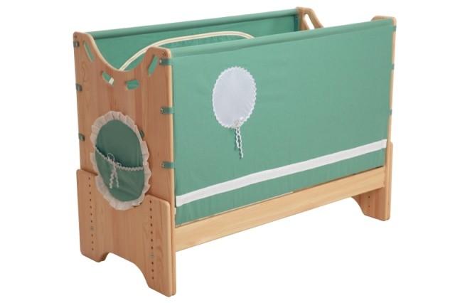 """Детская приставная кроватка для новорожденных с регулировкой высоты """"Лесная сказка"""" сосна"""