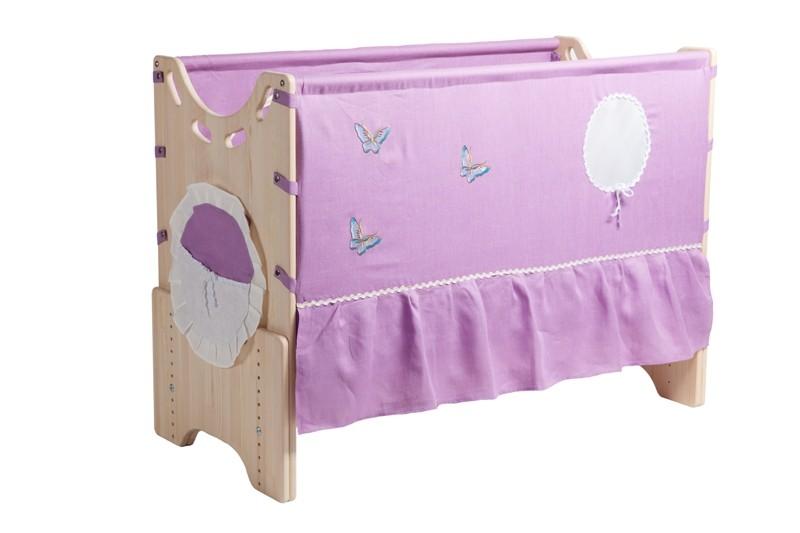 """Детская приставная кроватка для новорожденных с регулировкой высоты """"Сиреневый сад"""" сосна"""
