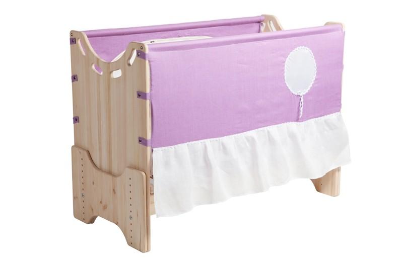 """Детская приставная кроватка для новорожденных с регулировкой высоты """"Июнь"""" сосна"""