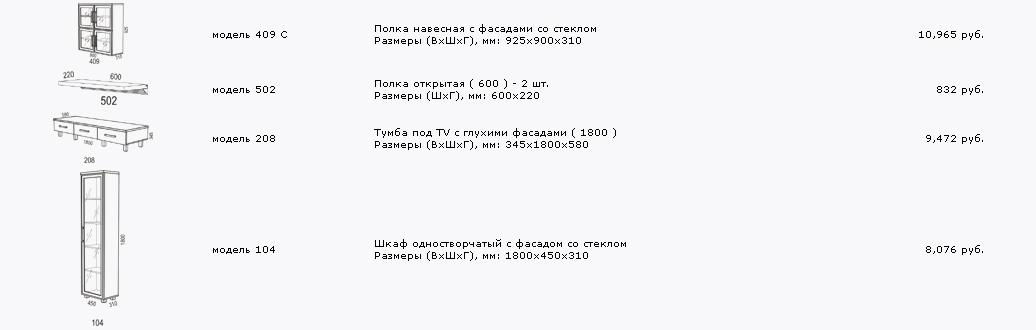 Гостиный гарнитур расстановка №1 (Торо)