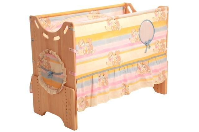 """Детская приставная кроватка для новорожденных с регулировкой высоты """"Добрые друзья"""" бук"""