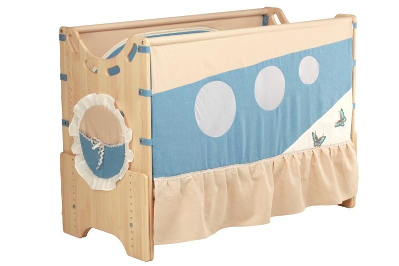 """Детская приставная кроватка для новорожденных с регулировкой высоты """"Ласковый восход"""" бук"""