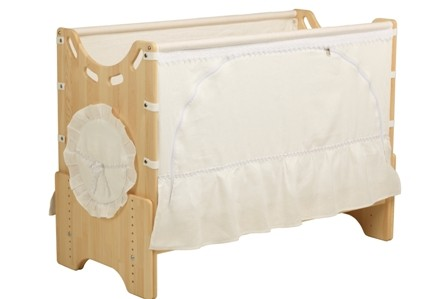 """Детская приставная кроватка для новорожденных с регулировкой высоты """"Зимнее утро"""" бук"""