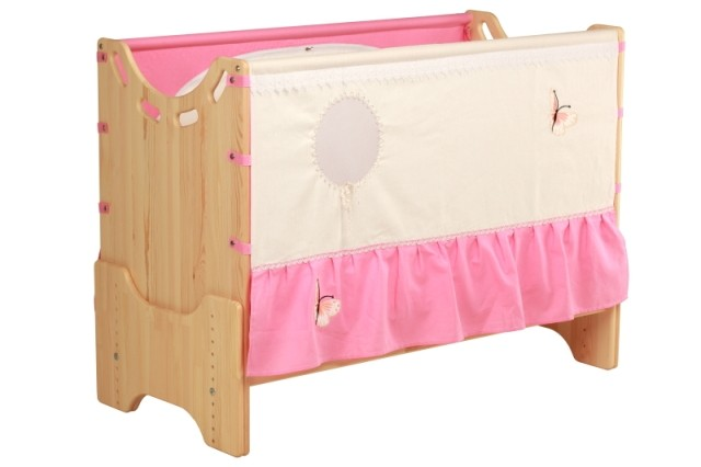"""Детская приставная кроватка для новорожденных с регулировкой высоты """"Бабочка"""" бук"""