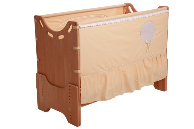 """Детская приставная кроватка для новорожденных с регулировкой высоты """"Нежность"""" бук"""