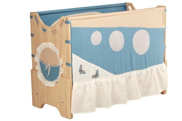 """Детская приставная кроватка для новорожденных с регулировкой высоты """"Морской бриз"""" бук"""