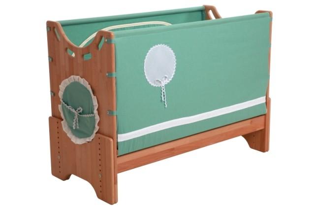 """Детская приставная кроватка для новорожденных с регулировкой высоты """"Лесная сказка"""" бук"""