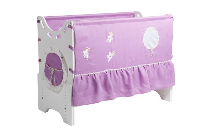 """Детская приставная кроватка для новорожденных с регулировкой высоты """"Сиреневый сад"""" бук"""