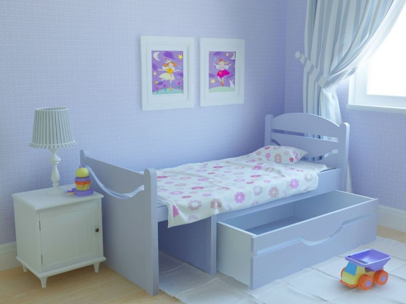 Ростушка-2 детская раздвижная кровать серии Я расту для мальчиков и девочек детей от 2-3 лет