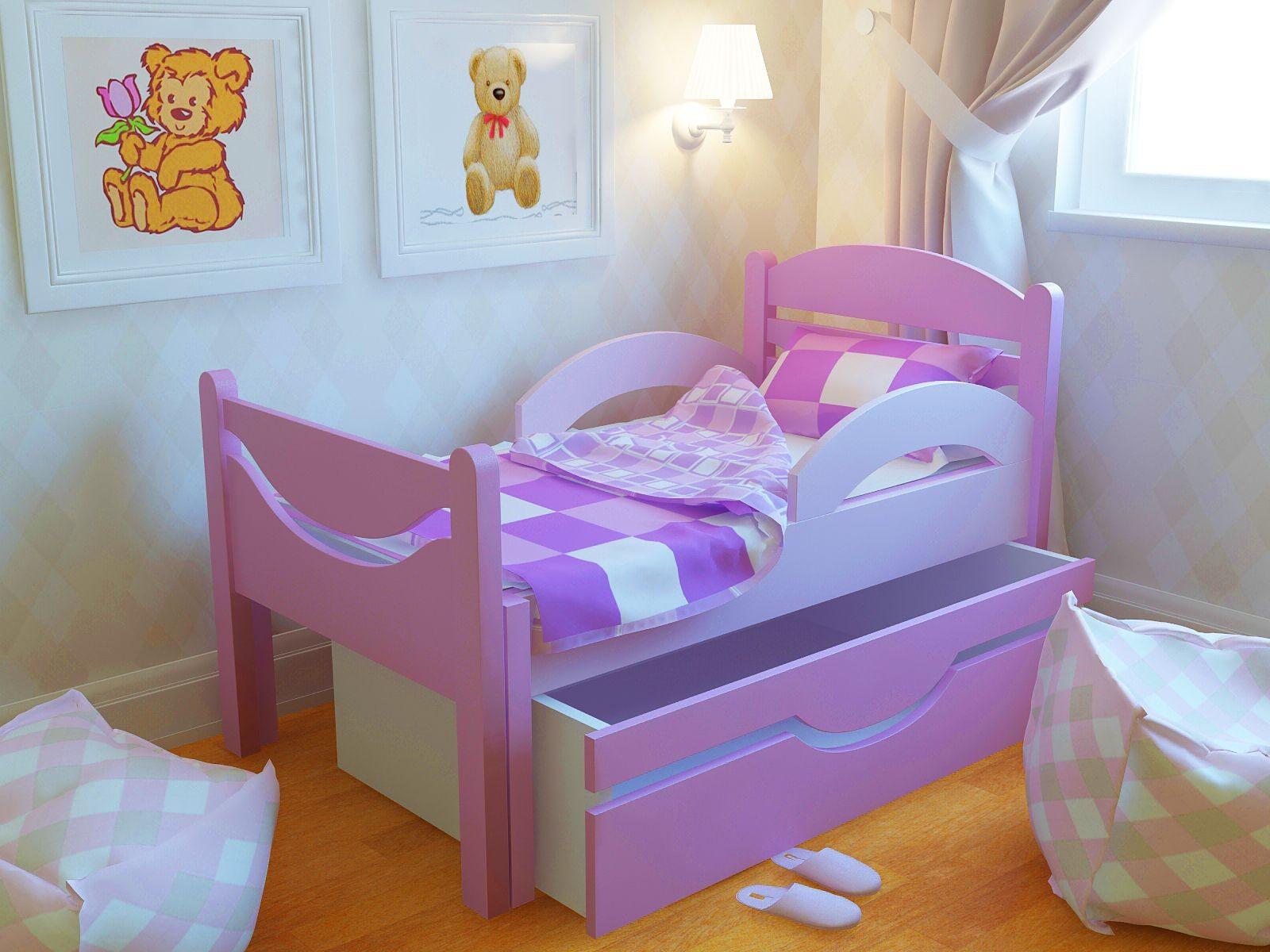 Ростушка-Простушка СМЯ2Б85 детская раздвижная кровать серии Я расту для мальчиков и девочек детей от 2-3 лет