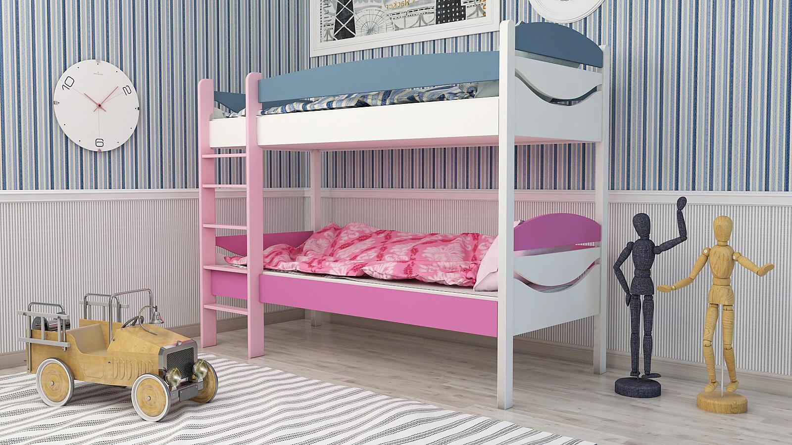 """Двухъярусная кровать """"Двойняшка"""" KDBUK детская для мальчиков и девочек детей от 2-3 лет"""