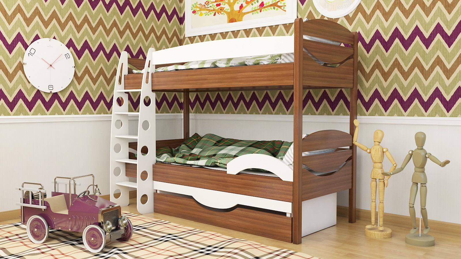 """Двухъярусная кровать """"Эни-Бэни"""" KDEBUK детская для мальчиков и девочек детей от 2-3 лет"""