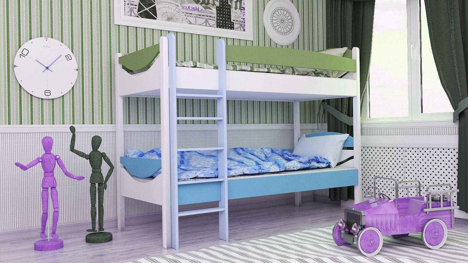 """Двухъярусная кровать """"Двойняшка"""" KDBUKU детская для мальчиков и девочек детей от 2-3 лет"""