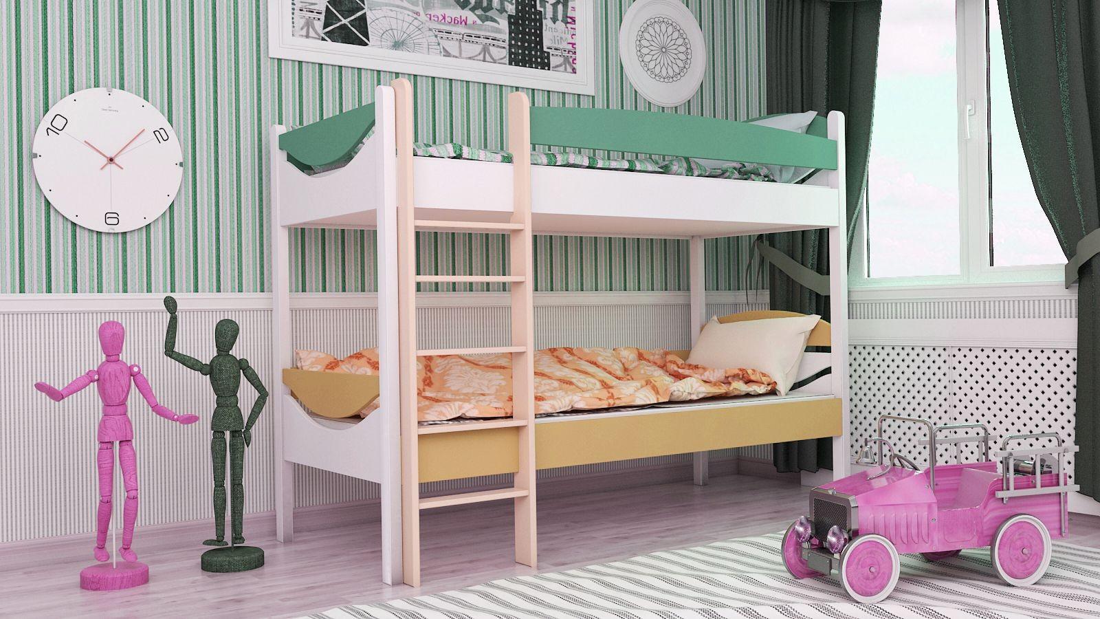 """Двухъярусная кровать """"Двойняшка"""" KDDUBU детская для мальчиков и девочек детей от 2-3 лет"""