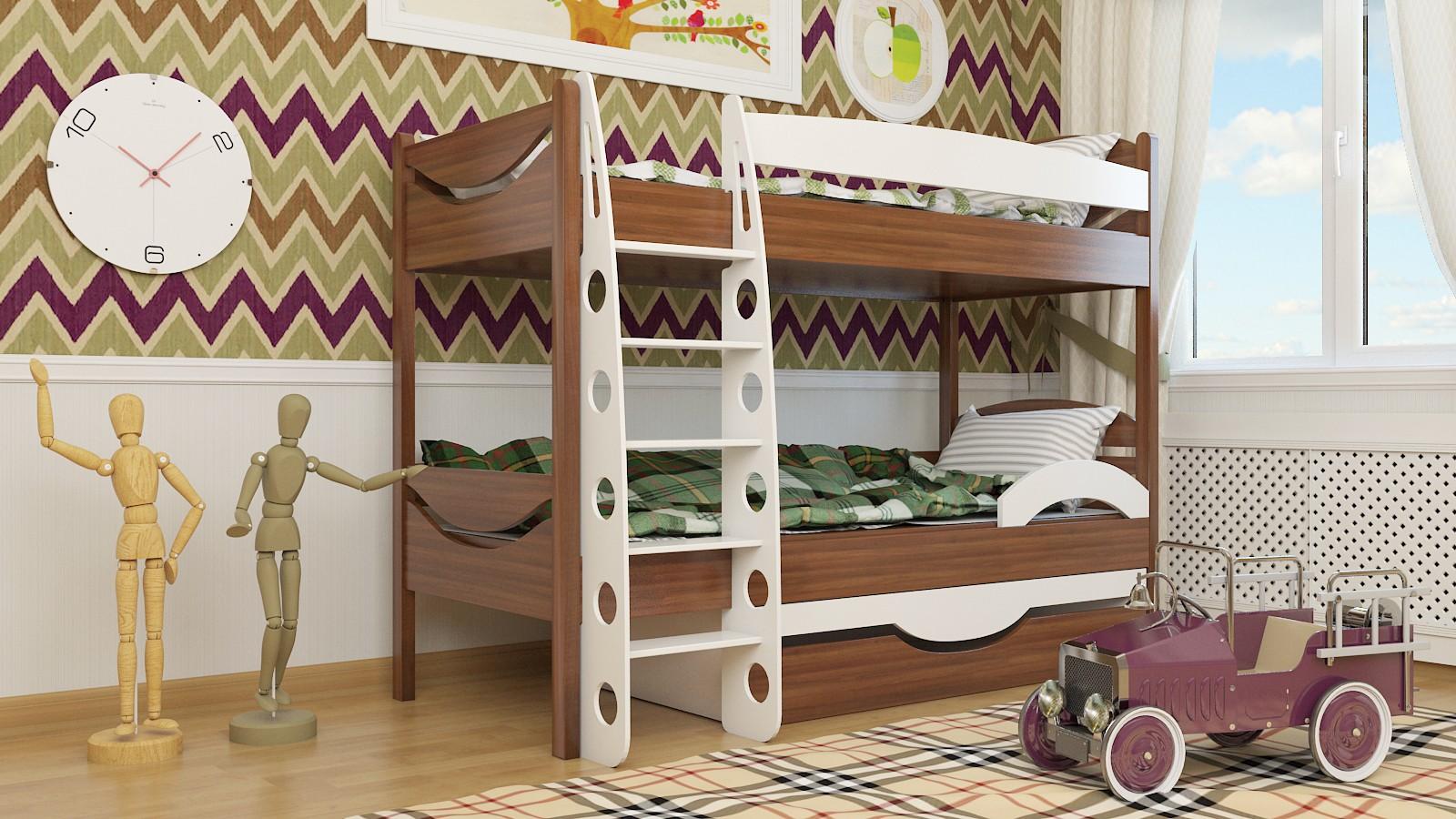 """Двухъярусная кровать """"Эни-Бэни"""" KDEDUB детская для мальчиков и девочек детей от 2-3 лет"""