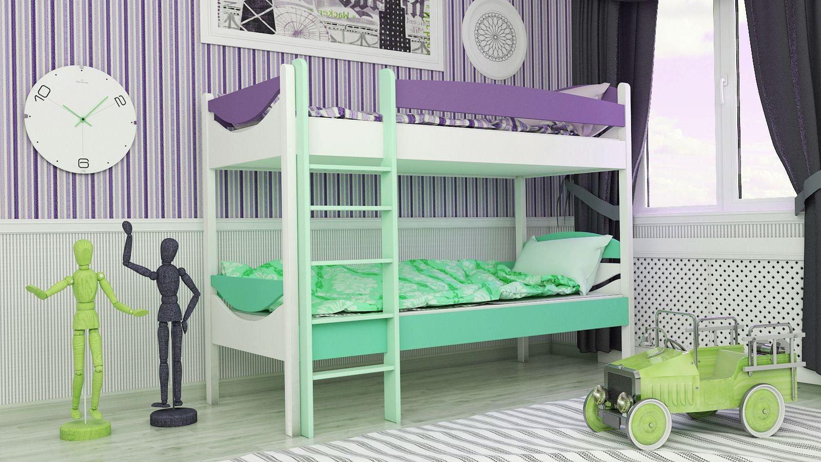 """Двухъярусная кровать """"Двойняшка"""" KDDUB детская для мальчиков и девочек детей от 2-3 лет"""