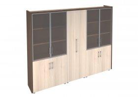 Шкаф комбинированный для руководителя Сенатор (2 витрины + гардероб)