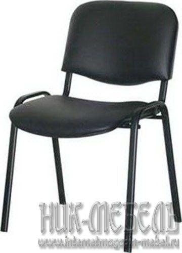 Офисный стул для посетителей Изо чер-каркас кож-зам
