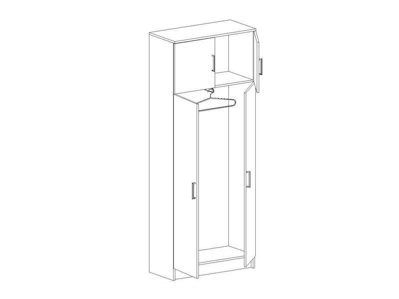 Шкаф двухстворчатый Машенька, ШК-102 (ясень шимо темный/ясень шимо светлый)