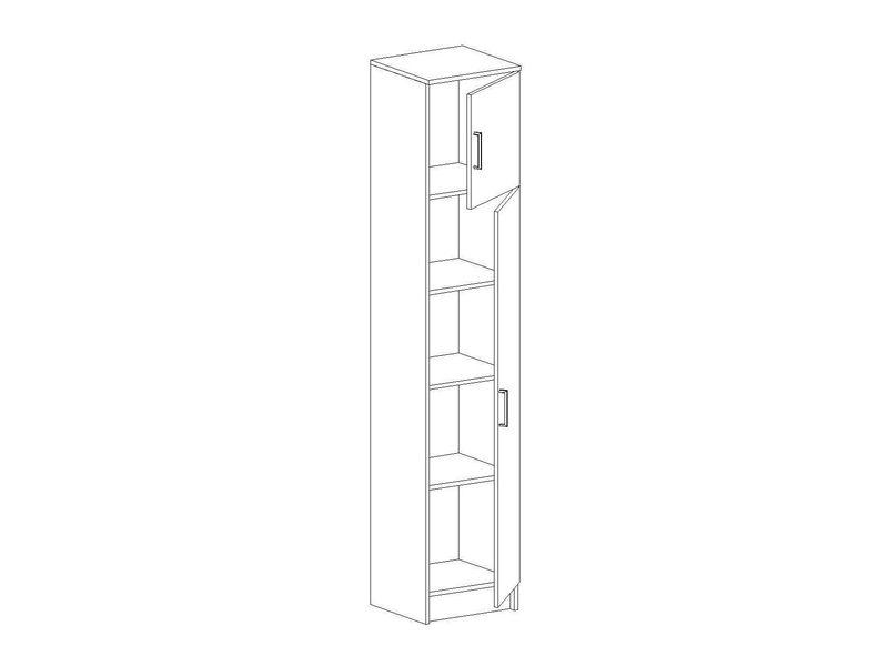 Шкаф одностворчатый бельевой Машенька, ШК-101 (ясень шимо темный/ясень шимо светлый)
