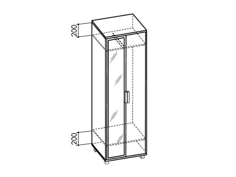 Шкаф 600 WEST с зеркалом, модуль №4 (ясень шимо темный/ясень шимо светлый)
