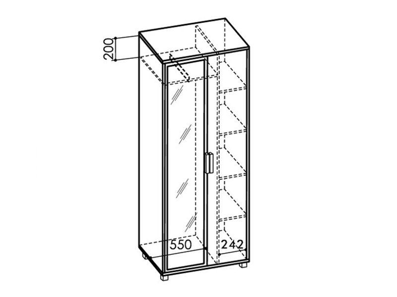 Шкаф 800 WEST с зеркалом, модуль №5 (ясень шимо темный/ясень шимо светлый)