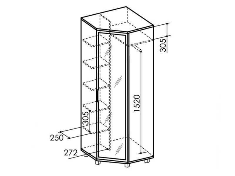 Шкаф угловой  с зеркалом WEST, модуль №8 (ясень шимо темный/ясень шимо светлый)