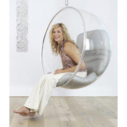 Кресло подвесное Bubble Chair Style | Серебряная Кожа