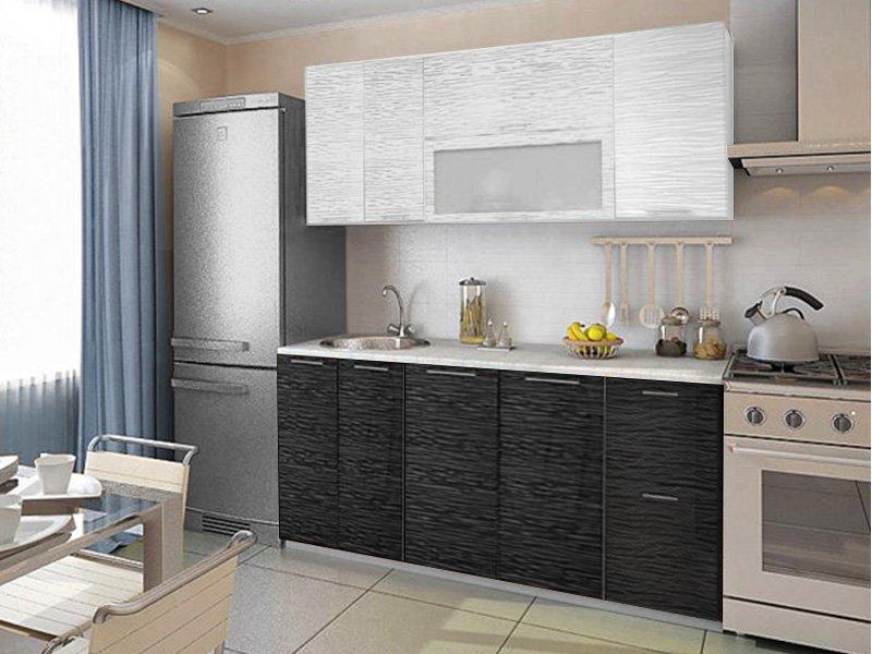 "Кухня ""Валерия"" 1,8 м (Страйп белый/страйп чёрный)"
