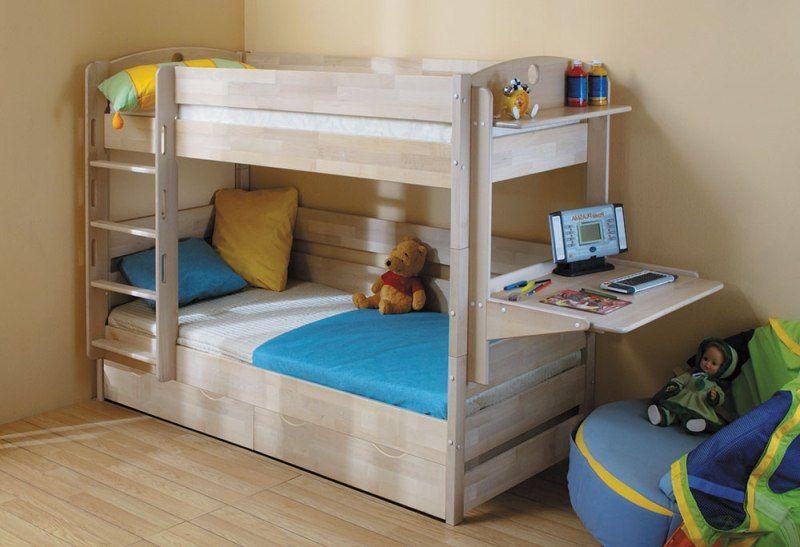 Кровать детская  Двухъярусная Массив с ящиками  (трансформер)