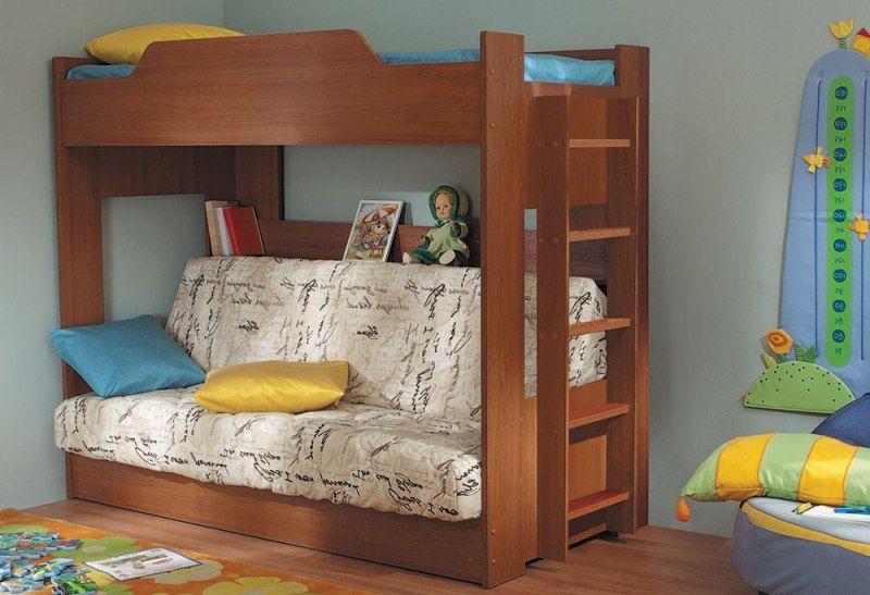 Двухъярусная  кровать с диван-кроватью, механизм клик-клак
