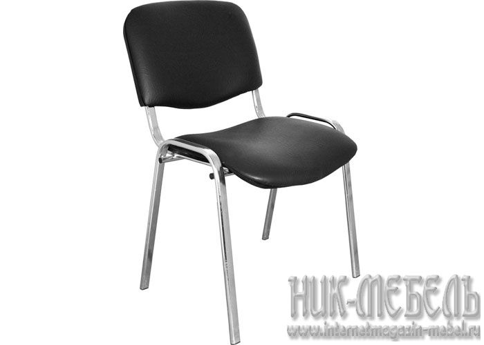 ДИК-Офисный стул для посетителей Изо хром кож-зам