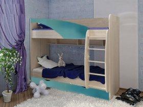 Кровать 2-х ярусная Роман КР-703 (дуб млечный/бирюза)