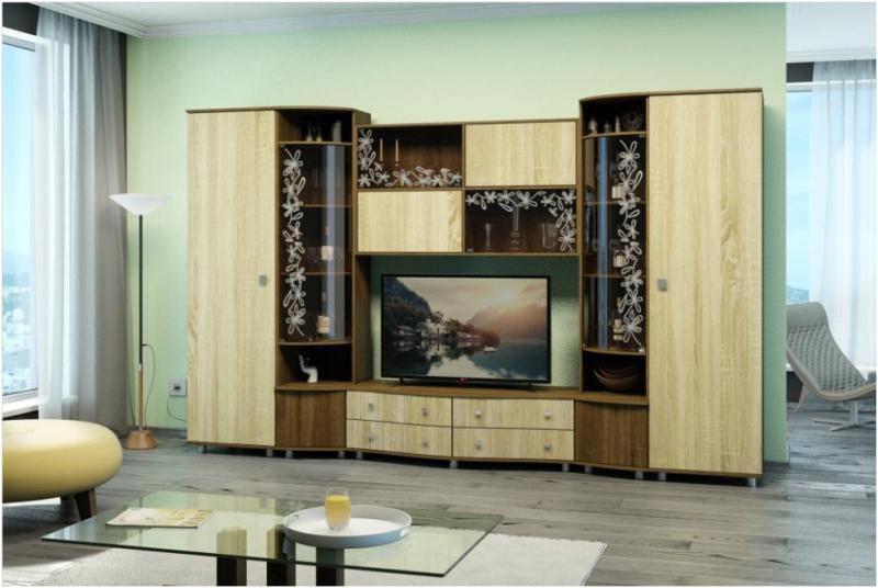 модульные стенки для гостиной из массива купить в москве недорого