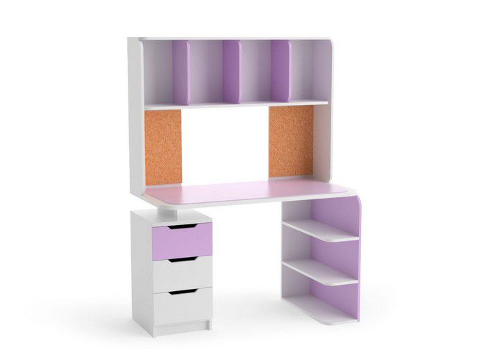 Лилу М 8 Стол компьютерный, столешница с цвет.стеклом (ирис/белый)